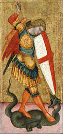 Sienese School of the 14th century - St. Michael and the Dragon - Google Art Project.jpg