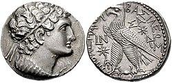 Silver tetradrachm, Ptolemy VIII Euergetes II, 145-116 BC.jpg