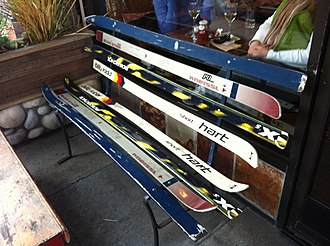 Repurposing - Skis repurposed as a bench