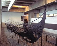 A photograph of the remains of an eleventh-century Viking ship