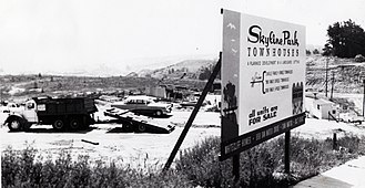 San Bruno, California - Skyline Park was the final subdivision developed in the Crestmoor district of San Bruno, in 1966–67. Grading for the Junipero Serra Freeway (I-280) leveled the hill seen on the right side of this photo. (San Bruno Herald photo by Robert E. Nylund)
