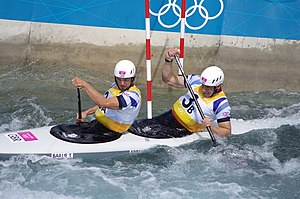 Canoeing at the 2012 Summer Olympics – Men's slalom C-2 - Image: Slalom canoeing 2012 Olympics C2 GBR Timothy Baillie and Etienne Stott 3