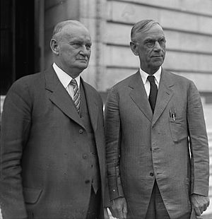 Reed Smoot - Willis C. Hawley (left) and Smoot in April 1929, shortly before the Smoot-Hawley Tariff Act passed the House.