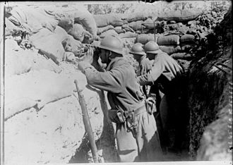 Western Front (World War I) - French soldiers observing enemy movements