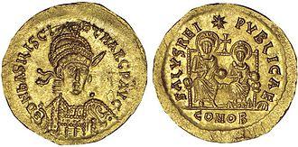 Marcus (son of Basiliscus) - Solidus of Emperor Marcus with his father Basiliscus.