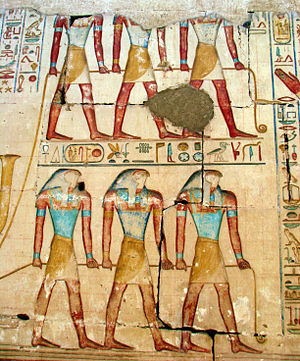 Soul - The souls of Pe and Nekhen towing the royal bargue on a relief of Ramesses II's temple in Abydos.