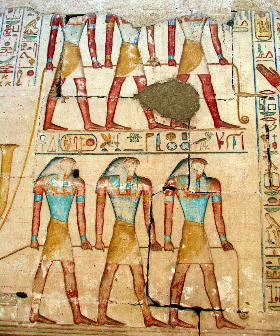 Souls of Pe and Nekhen towing at Ramses' Temple in Abydos c