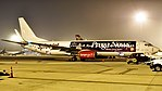 """Spicejet 737-800 special livery """"Prega News"""" at Bangalore Airport (38764400805).jpg"""