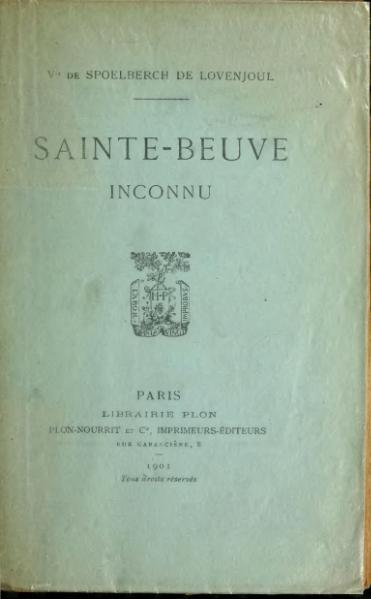 File:Spoelberch de Lovenjoul - Sainte-Beuve inconnu, 1901.djvu