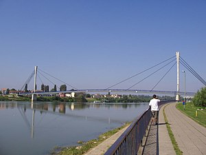 Sremska Mitrovica - The footbridge of St. Irenaeus of Sirmium, across Sava river. This is the biggest footbridge in Serbia.