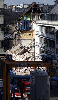 Eingestürztes Gebäude des Kölner Stadtarchivs
