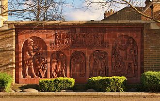 History of Staines-upon-Thames - Modern terracotta relief in London Road, Staines, representing the town's Roman history