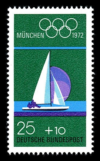 Sailing at the 1972 Summer Olympics - Image: Stamps of Germany (BRD), Olympiade 1972, Ausgabe 1972, 25 Pf