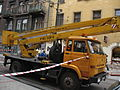 Star 1142-based cherry picker during Długa street reconstruction in Kraków (1).jpg