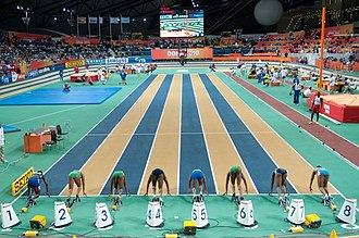 Sprint (running) - Start of the women's 60 m at the 2010 World Indoor Championships