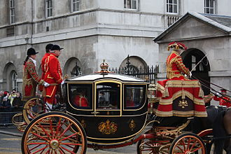 Queen Alexandra's State Coach - Queen Alexandra's State Coach conveying the Crown and other insignia from the Palace of Westminster following the State Opening of Parliament, 2008.