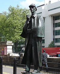 Statue of Sherlock Holmes, located in London, England