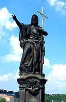 Statue of saint John on Charles Bridge, Prague(Aw58).JPG