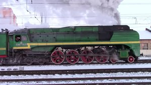 Файл:Steam locomotive P-36 at the Pavlovskyi Posad station.webm