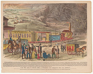 "Temperance movement in the United States - An allegorical map on temperance, based on the notion of alcohol as a train ride to destruction, the ""Black Valley Rail Road"" by the Massachusetts Temperance Alliance, 1863."