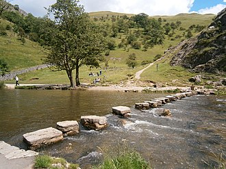 River Dove, Central England - The stepping stones over the River Dove, Dovedale