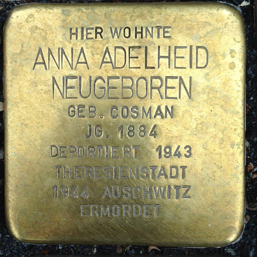 Stolperstein Kleve Große Straße 90 Anna Adelheid Neugeboren