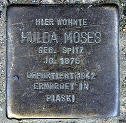 Photo of Hulda Moses brass plaque