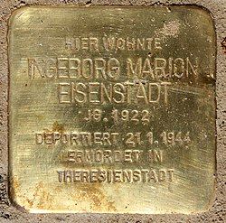 Photo of Ingeborg Marion Eisenstädt brass plaque