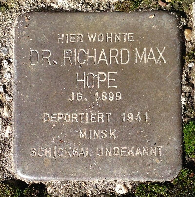 Stolperstein Verl Sender Straße 1 Richard Max Hope