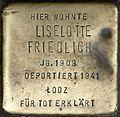 Stumbling block for Liselotte Friedlich (Weyerstraße 122)