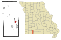 Stone County Missouri Incorporated and Unincorporated areas Branson West Highlighted.svg