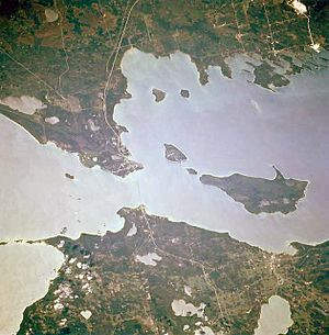 Michilimackinac - Overhead view of the Straits of Mackinac linking Lakes Michigan (left) and Huron (right)