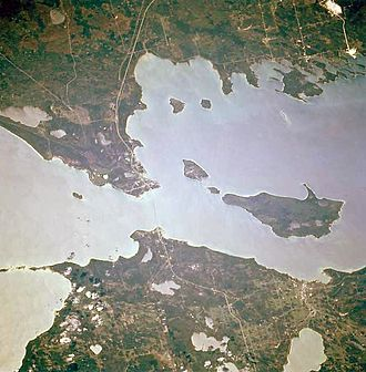 Straits of Mackinac - Overhead view of the Straits of Mackinac linking Lakes Michigan (left) and Huron (right)