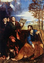Painting of Saint John and Saint Bartholomew by Dosso Dossi, 1527