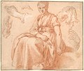 Study of a Seated Woman and Five Studies of Hands; Verso- Landscape with a Road and a Tree to the Right MET DP167192.jpg