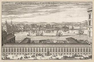 Blasieholmen - Blasieholmen viewed from Helgeandsholmen in 1696.