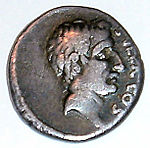 Photograph of a Roman coin that depicts a man with an aquiline nose.