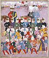 Sultan Osman II (reigned 1618-1622) with His Vizier Davud Pasha in a Procession of Janissaries and Guards, Left side of a double-page Manuscript illustration LACMA M.85.237.42.jpg