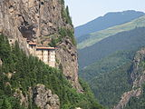 Sumela monastery in province of Trabzon, Turkey view from the road.JPG