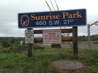 Troutdale, Oregon - A sign for Sunrise Park in Troutdale