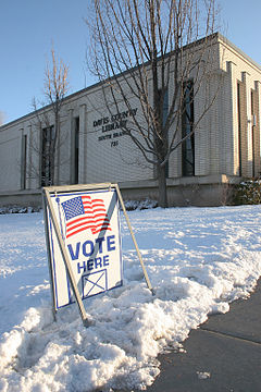 "A polling station in Utah opens for ""Super Tuesday"" in the 2008 US Presidential Elections"