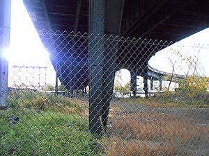 Susquehanna Transfer (NYS&W station) - The former Susquehanna Transfer station site in 2014. Route495 is overhead.