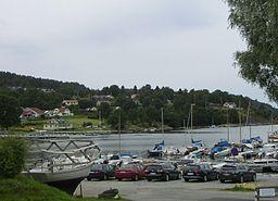 Småbåtshamnen med ett villaområde i bakgrunden ffa5d79de74b1