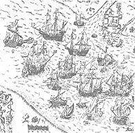 The Swedish fleet in front of Riga