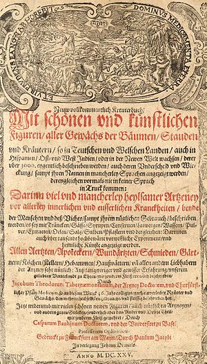 Jacobus Theodorus Tabernaemontanus - Title page of the Basel, 1625 edition