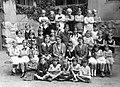 Tableau, school, class photo, girl, girls' class, women, yard, teacher Fortepan 22371.jpg