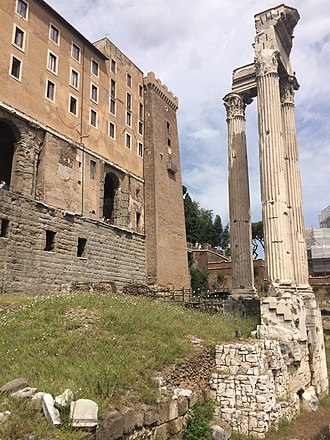 Roman Forum - The Tabularium, behind the corner columns of the Temple of Vespasian and Titus