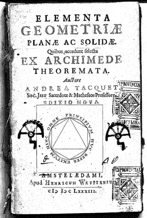André Tacquet - Title page of his Elementa Geometriae...