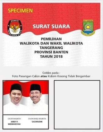 None of the above - A sample ballot for the uncontested 2018 mayoral elections in Tangerang.