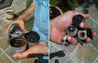 Nabeel Rajab - Tear gas fired at Rajab's house on 18 April (left) and 21 May (right)
